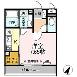 (仮)D-room相模大野5丁目 1階1Kの間取り
