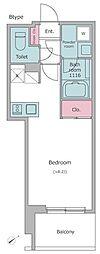 東京メトロ日比谷線 入谷駅 徒歩3分の賃貸マンション 9階ワンルームの間取り
