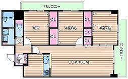 北大阪急行電鉄 桃山台駅 徒歩11分の賃貸マンション 7階3LDKの間取り