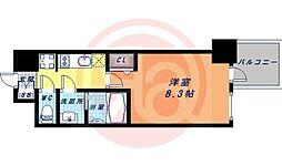 Osaka Metro谷町線 谷町九丁目駅 徒歩1分の賃貸マンション 12階1Kの間取り