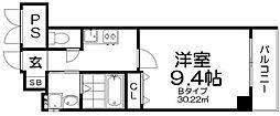 サンドール12番館 2階1Kの間取り