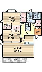 カーサベルデ大泉[2階]の間取り