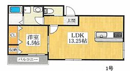 (仮称)中長尾町2丁共同住宅 2階1LDKの間取り