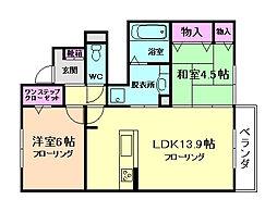 大阪府豊中市旭丘の賃貸アパートの間取り