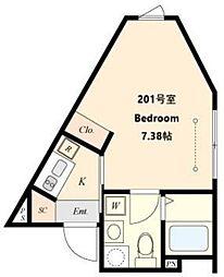 都営三田線 春日駅 徒歩4分の賃貸マンション 5階1Kの間取り