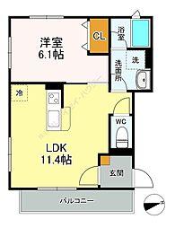Yamato海神駅前 2階1LDKの間取り