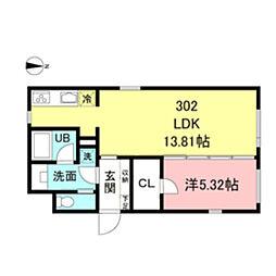 都営新宿線 新宿駅 徒歩5分の賃貸マンション 3階1LDKの間取り