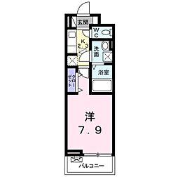 東武東上線 東松山駅 徒歩9分の賃貸アパート 2階1Kの間取り