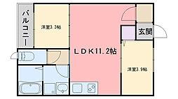 福岡市地下鉄七隈線 賀茂駅 徒歩7分の賃貸アパート 1階2LDKの間取り