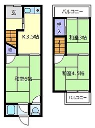 [テラスハウス] 大阪府松原市天美東7丁目 の賃貸【/】の間取り