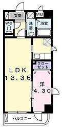 神奈川県川崎市中原区上小田中1丁目の賃貸マンションの間取り