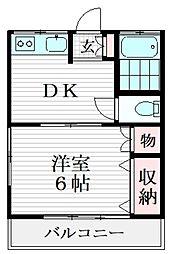 コーポ清陵 2階1DKの間取り
