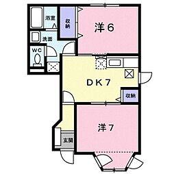 グリーンハイムササキ A[1階]の間取り