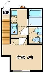 小田急小田原線 和泉多摩川駅 徒歩10分の賃貸アパート 2階1Kの間取り