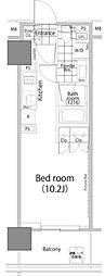 パークハビオ赤坂タワー 11階ワンルームの間取り