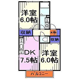 埼玉県戸田市美女木4丁目の賃貸アパートの間取り