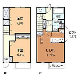 神奈川県川崎市麻生区王禅寺東5丁目の賃貸アパートの間取り