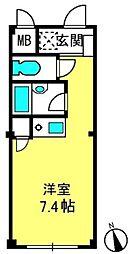 宮町マンション[205号室]の間取り
