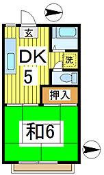サンライズアパートメントD[2階]の間取り