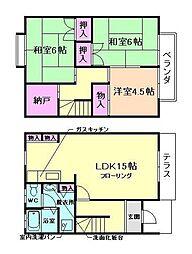 [テラスハウス] 大阪府豊中市上野東2丁目 の賃貸【/】の間取り