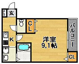 Osaka Metro今里筋線 だいどう豊里駅 徒歩7分の賃貸アパート 1階1Kの間取り