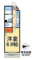 JR常磐線 北小金駅 徒歩5分の賃貸アパート 1階1Kの間取り
