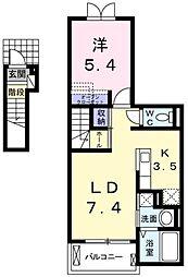 ベル フィオーレ 2階1LDKの間取り