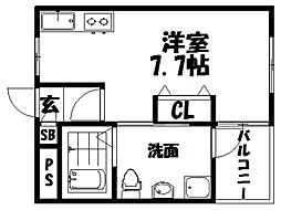 シャンテー宮之阪 2階1Kの間取り