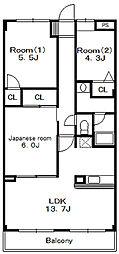 グランドゥール21[4階]の間取り