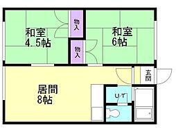 間取り,2DK,面積38.8m2,賃料3.8万円,,,北海道石狩市花川南六条4丁目