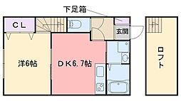 フラップハウス 2階1DKの間取り