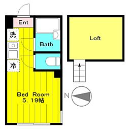JR南武線 中野島駅 徒歩13分の賃貸アパート 2階1Kの間取り