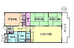 大阪府豊中市上野東1丁目の賃貸マンションの間取り