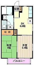 JR南武線 矢川駅 徒歩6分の賃貸アパート 2階2DKの間取り