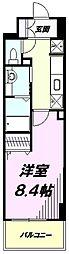 JR中央線 豊田駅 徒歩4分の賃貸マンション 5階1Kの間取り