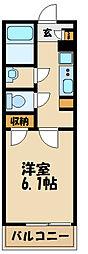 JR南武線 久地駅 徒歩4分の賃貸マンション 2階1Kの間取り