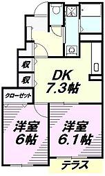 埼玉県所沢市北中3丁目の賃貸アパートの間取り