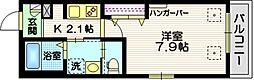 東急池上線 雪が谷大塚駅 徒歩1分の賃貸マンション 2階1Kの間取り