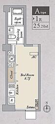 都営大江戸線 両国駅 徒歩8分の賃貸マンション 1階ワンルームの間取り