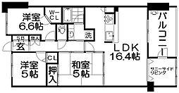 大阪府枚方市走谷1丁目の賃貸マンションの間取り