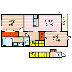 滋賀県彦根市南川瀬町の賃貸アパートの間取り