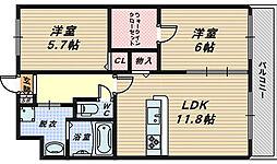 大阪府堺市堺区旭ヶ丘中町2丁の賃貸マンションの間取り