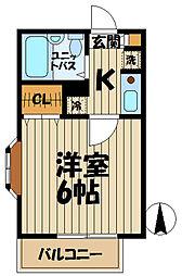 ドルフィン山崎A[203号室]の間取り