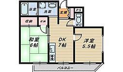 大阪府堺市堺区香ヶ丘町3丁の賃貸マンションの間取り
