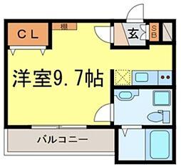 Chambre Hidemi II 1階ワンルームの間取り