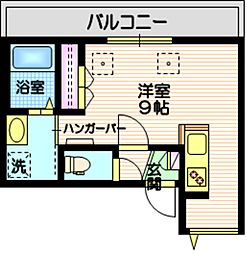 (仮称)三田2丁目メゾン 3階ワンルームの間取り