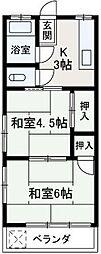 埼玉県朝霞市西弁財2丁目の賃貸アパートの間取り