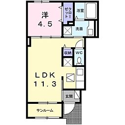 JR東海道本線 豊橋駅 バス12分 藤沢町下車 徒歩8分の賃貸アパート 1階1LDKの間取り