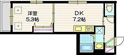 Grace Maison f 3階1DKの間取り