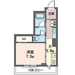 グランレーヴ新都心 3階1Kの間取り